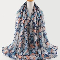 Customized OEM Digital Printed 100% Korean Cotton Scarf With Flower Leaves Pattern