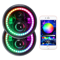 "LOYO Bluetooth controller 7"" magic rgb led headlight motorcycle round 7 inch rgb headlight for Jeep JK"