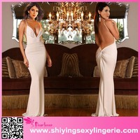 White Deep V Neckline Backless Evening Gown backless evening dress images of sexy nighty