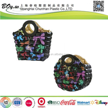 ICTI factory fashion cosmetic shopping beach bowknot hand black tote pvc inflatable bubble bag