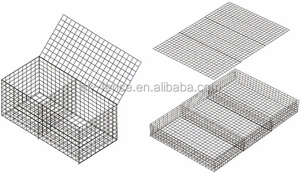 4mm galvanized wire welded 50x50x100cm gabion basket box with spring connection