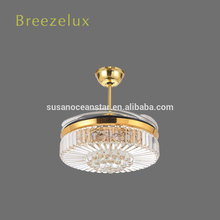 High quality factory price celling fan dinner room glass crystal chandelier stone