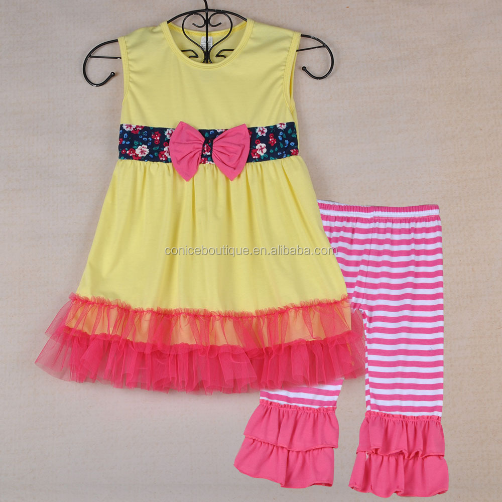 Girl Boutique Remake Clothing Sets Wholesale Kids Summer Ruffle Sets Baby Girls Outfits