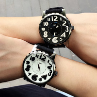 Korean sports denim big dial male ladies student watch fashion wild 3D stereo best quartz couple watches