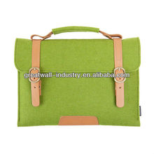 Suoran Macbook Bag Wool Felt Sleeve With Vegetable Leather Handle Briefcase Portable Laptop bag for Macbook Air