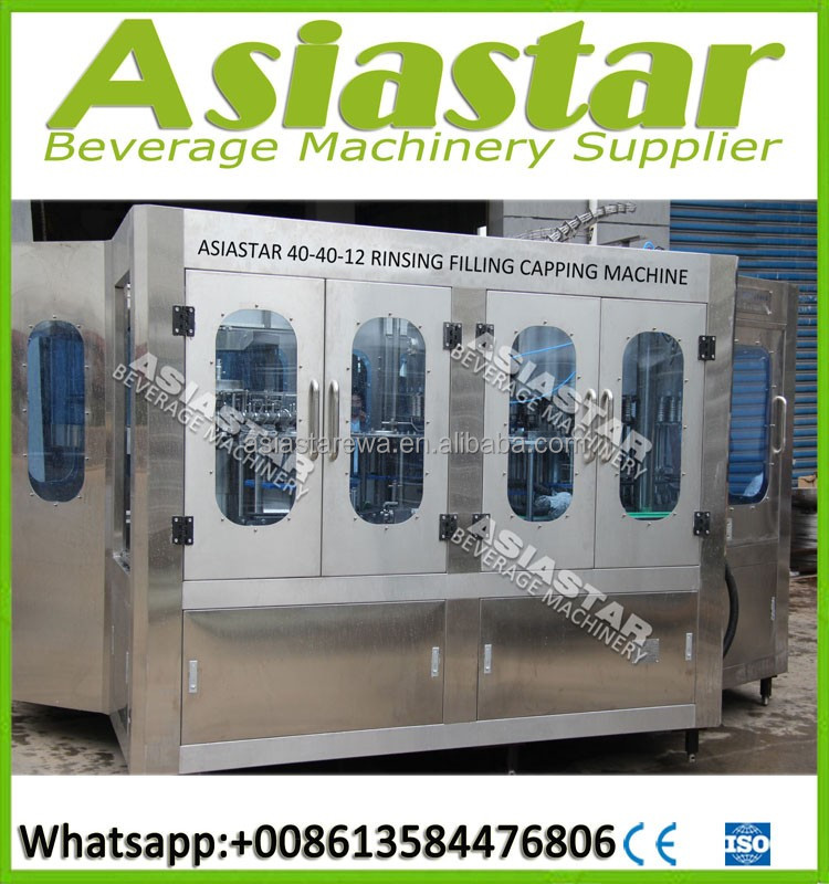 Fully automatic 3-in-1 bottled mineral pure drinking water filling machine packing system