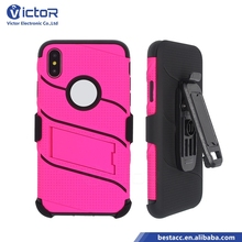 China Manufacturer Belt Clip Vajra Robot 3 in 1 Phone Case for iPhone X Case