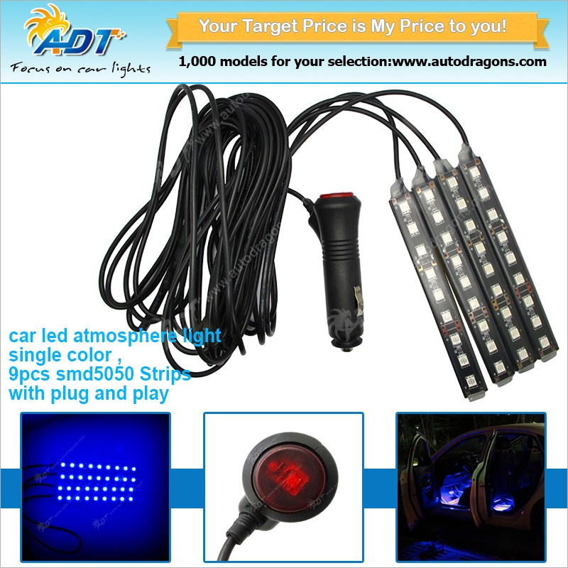 white, red, blue, yellow, green, pink, ice blue LED Car Charge Interior Floor Decorative Atmosphere Lights Lamps