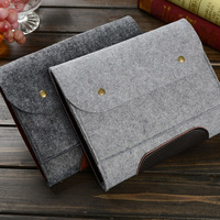 11'' 13'' Universal Laptop Sleeve Tablet Bag Wool Leather Pouch For iPad Pro 12.9 inch Case