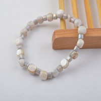 B7712-01Shell/Crystal Beaded Marble Colorful Bead Jewelry Stretch Wrap Bracelet