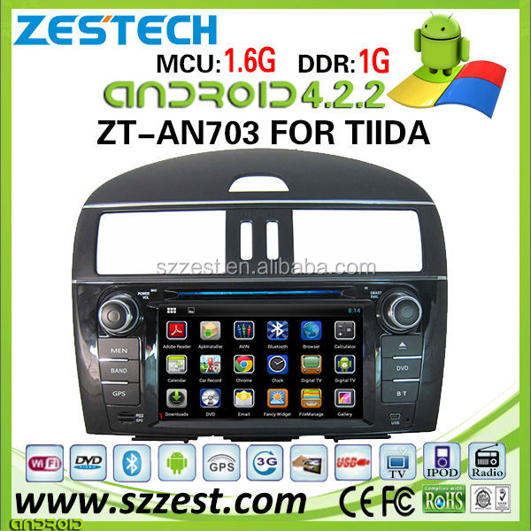 ZESTECH capacitive screen android 4.2.2 car autoradio for Nissan Tiida 2013 In-dash DVD players car multimedia system 3g wifi