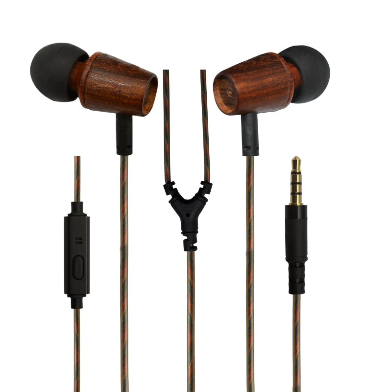 Durable anti-wrap free sample noise cancelling wooden earphone