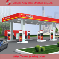 Large Span Space Frame Steel Structure Prefab Truss Petrol Station Design