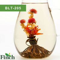 Finch 2015 Hot Sale Hanmdmade Blooming Flower Black Tea Peacock Spread His Tail