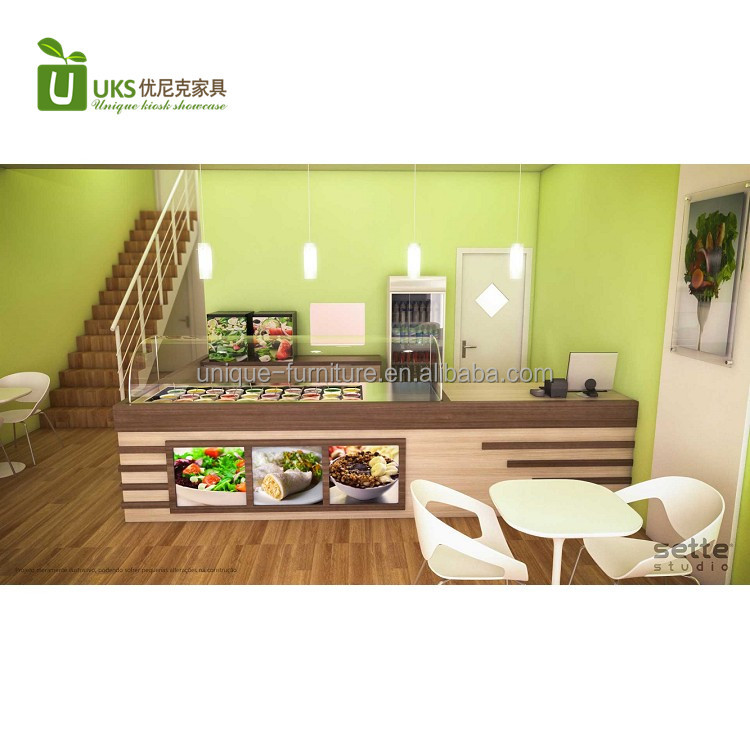 Attractive vegetables fruit salad bar counter with fast food shop interior design