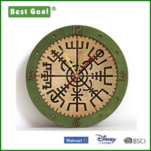 Plywood laser carving characters blessings wooden wall clock
