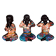 Cute No See No Speak No Hear Resin Baby Buddha Statue Mini Praying Ornaments