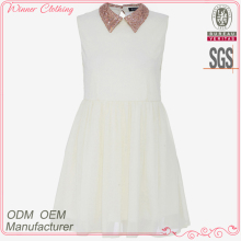 Ladies' beading collar back slit cute style sleevless slim fit high quality direct manufacture white christmas movie dress