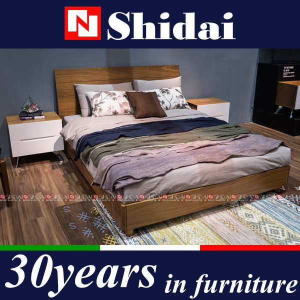 Modern MDF Pictures Of Wood Double Bed Designs B-815