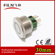 CE nickel plated brass switch 30mm momentary red ring illuminated push button LED