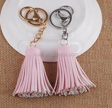 Hot sales high quality and genuine black leather tassel keychain