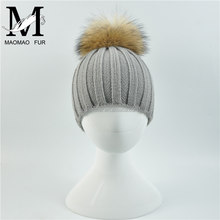 Wholesale New Fashion Hat with Raccoon Fur Ball Hand Knitted Baby Hat