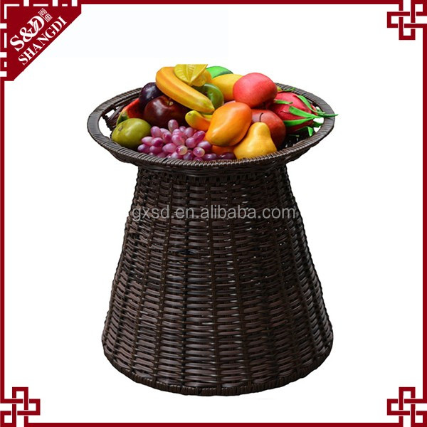 Supermarket chain grocery adjustable rattan basket multi-function vegetable and fruit display stand