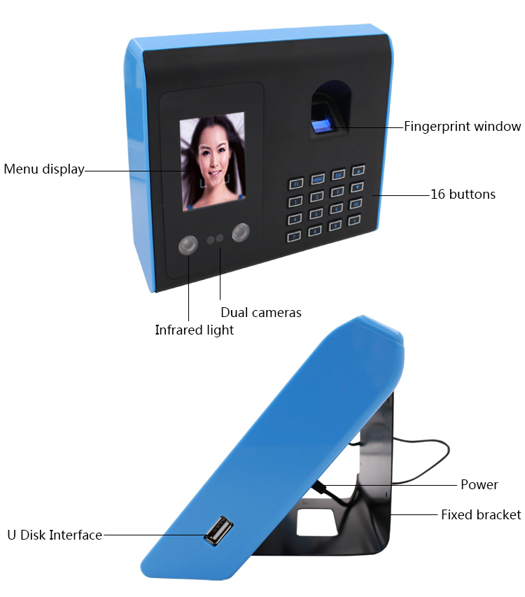 face and fingerprint punch card time attendance device