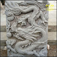 Professional Hand carving marble stone animal dragon column wall relief sculpture