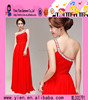 New Arrivals Elegant Red One Shoulder Bead Design Evening Dress Woman's Latest Sleeveless Bead Design Evening Dress