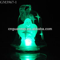 Color changing glass christmas bell decoration