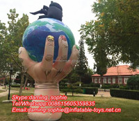 New Design Inflatable Hand with Globe for Park Theme Decoration
