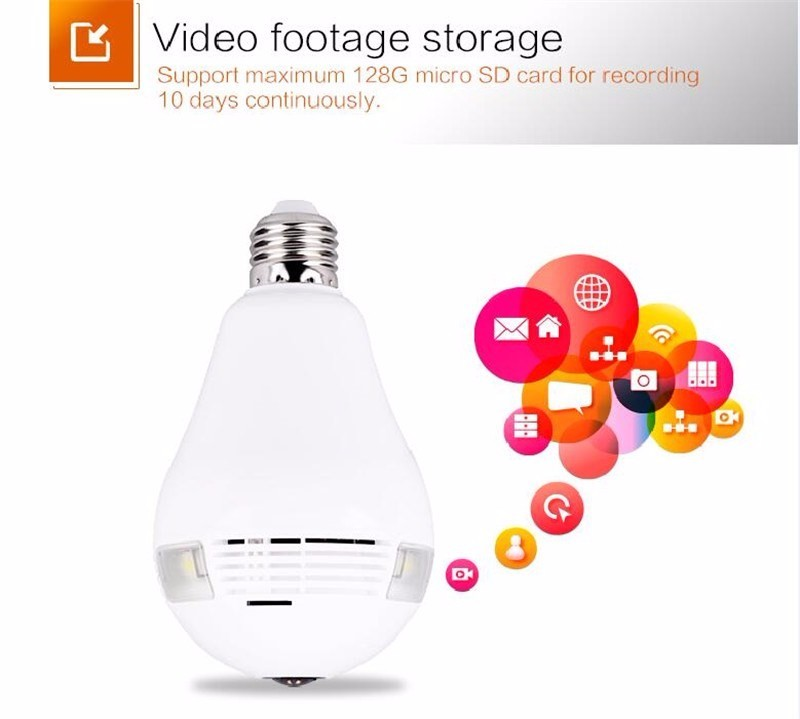 360 degree wireless IP smart panoramic lamp hidden camera from TEQIN