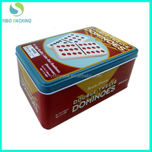 Domino games packing tinplate box factory sale metal tin box with FDA SGS OEM service
