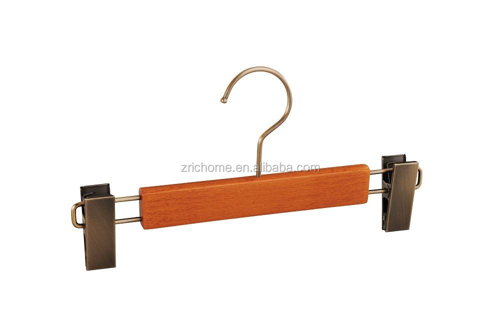 cherry colour wooden pants hanger with chromed clip