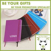 Promotional gift custom A5 hard cover pu leather diary notebook with elastic band