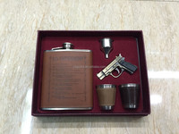 18oz leather wrapped hip flask with funnel and cup in gift paper box