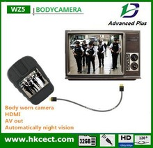 Body worn police camera with HDMI port connect to TV live video body worn camera recorder