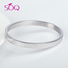 China supplier silver plating letter love engraved stainless steel bangle for women