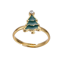 Man made Metal alloy Christmas tree Ring