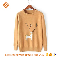 2017 Winter girls christmas pullover sweater , longsleeve knitted christmas sweater women