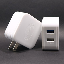 5V 2.4A and QC3.0 2-ports USB Travel Adapter, Foldable Fast Charger for iPad
