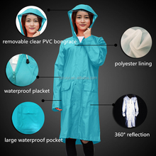 customized waterproof portable hooded reflective raincoat with zipper