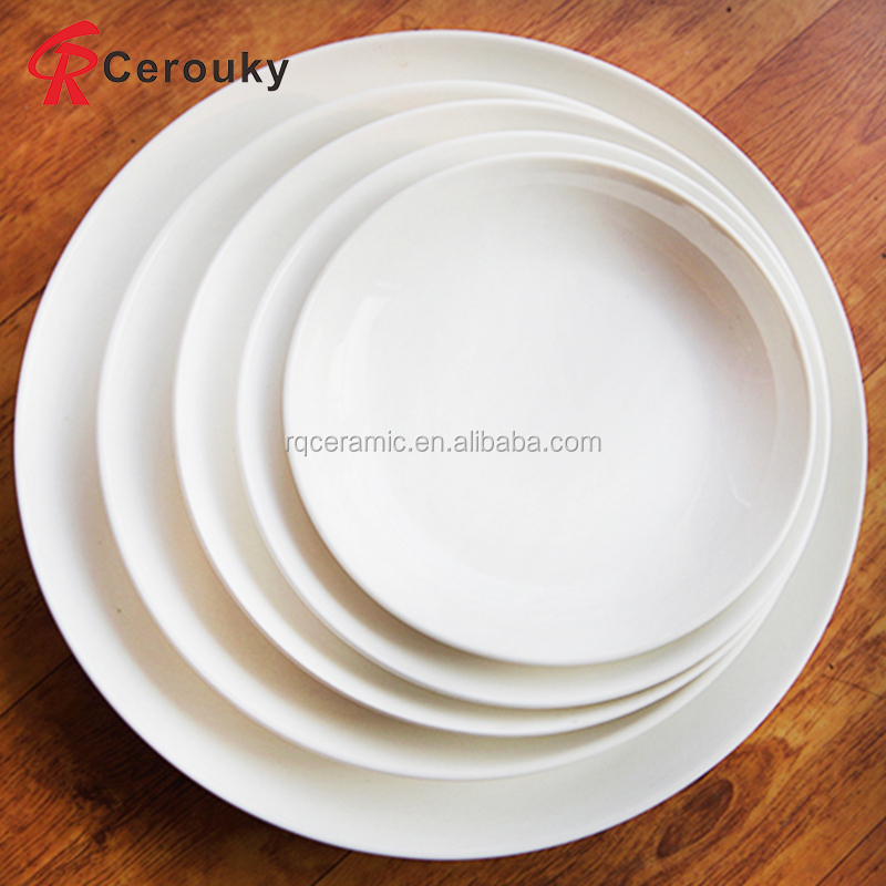 Restaurant wedding hotel use pure white round ceramic plate set