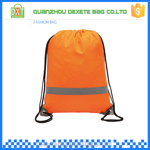 Promotional cheap outdoor orange reflective band drawstring shoe bags
