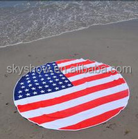 100% Cotton Custom Round Beach Towel With Full Print