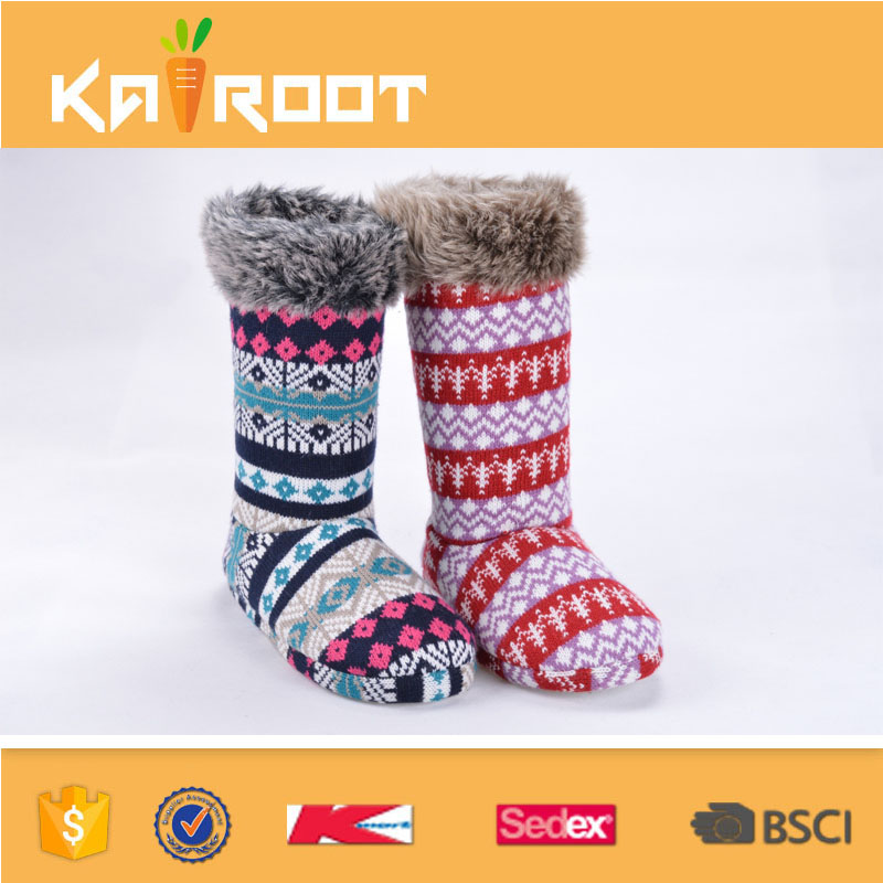 children girls boys tall winter warm colorful knit indoor boots