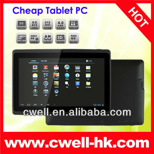 Cheapest android 4.0 7'' Allwinner A13 Q88 tablet