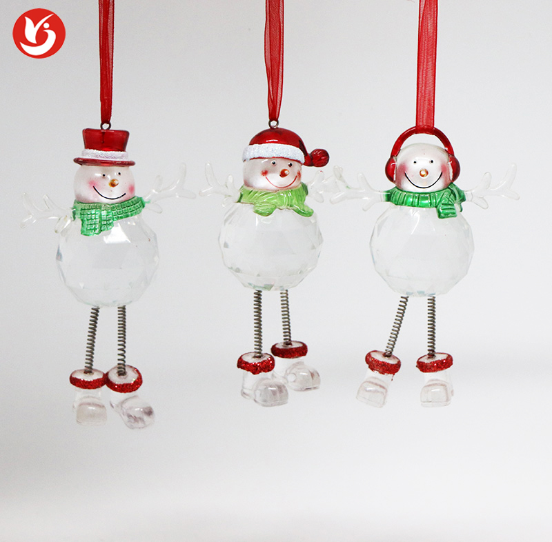 Acrylic Hang Christmas Snowman Ornaments with best price