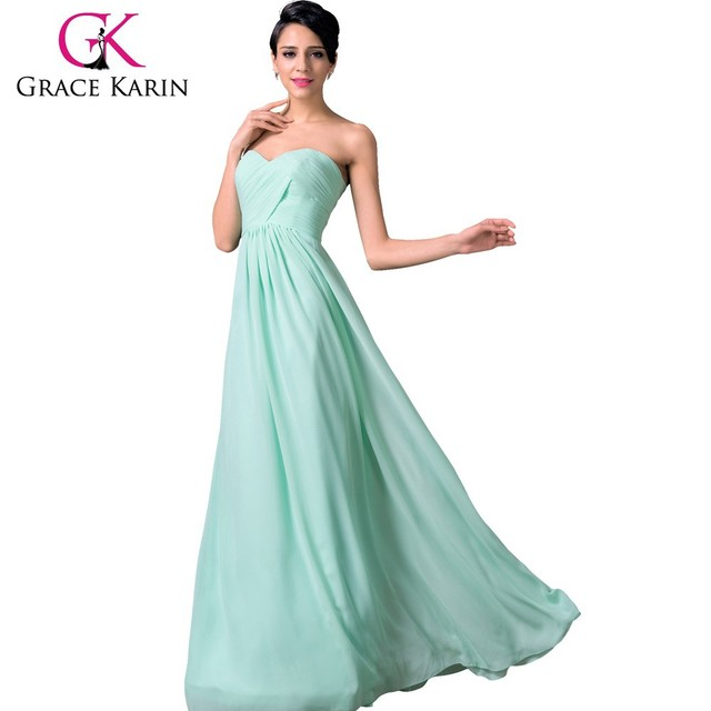Grace Karin Elegant Pale Turquoise Chiffon Floor Length Long Bridesmaid Dresses CL6214